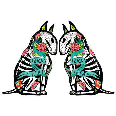 개, 꽃 패턴 해골 인사말 카드. 에서 Colorfull Bullterriers. 벡터 일러스트 레이 션 스톡 콘텐츠 - 33392728
