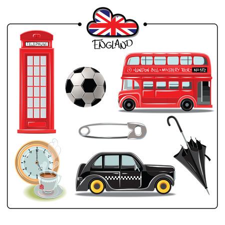 bus anglais: Vector ensemble de symboles de Londres. Angleterre. Vector illustration