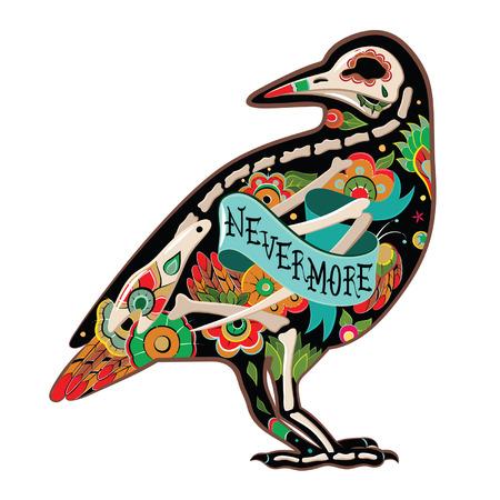 cuervo: Tarjeta de felicitaci�n con el cuervo, esqueletos con motivos florales. Cuervo Colorfull. Ilustraci�n vectorial