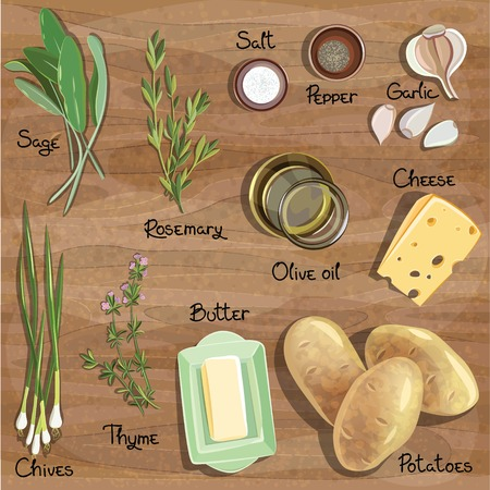 Set food on a wooden table top. Ingredients. Vector illustration Stock Illustratie