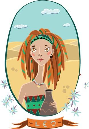 Vector girl in a frame of flowers. Leo. Vector illustration Vector