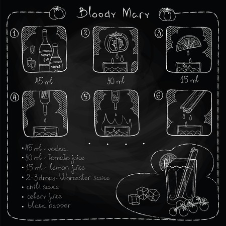 Hand drawn illustration of cocktail, imitation of chalk. Bloody Mary. Vector illustration