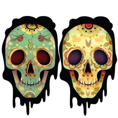Day Of The Dead Skull Vector Set. Skulls. Vector illustration Stock Illustratie