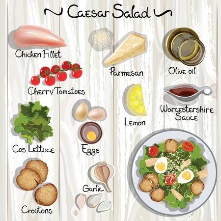 ensalada cesar: Ingredientes del vector para ensalada César. Ensalada César. Ilustración vectorial