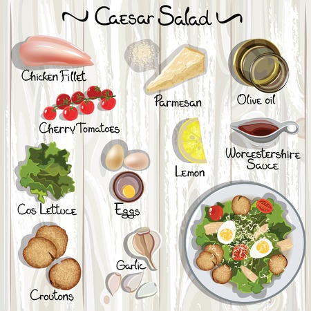 Vector ingredients for Caesar salad. Caesar salad. Vector illustration