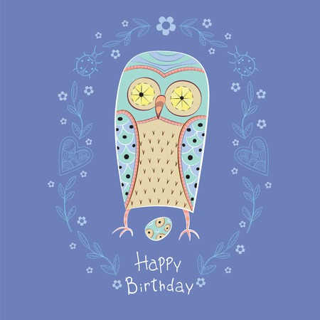 birthday greetings: Owl with frame and egg. Owl. Vector illustration