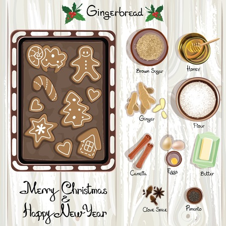 gingerbread: Gingerbread Christmas Cookies. Gingerbread. Vector illustration