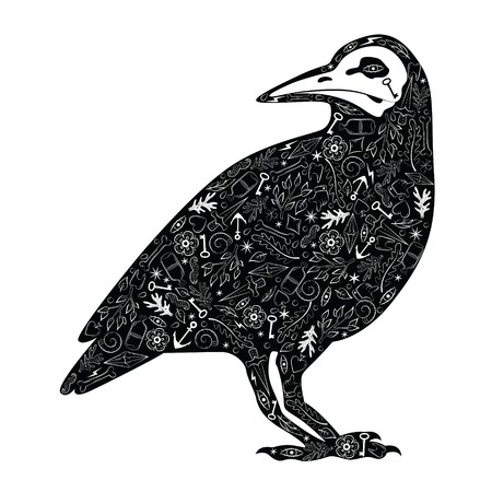 Greeting card with crow, with tattoo patterns. Black crow,. Vector illustration Vector