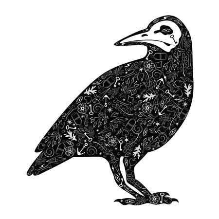 cuervo: Tarjeta de felicitación con el cuervo, con los patrones de tatuaje. Cuervo negro ,. Ilustración vectorial