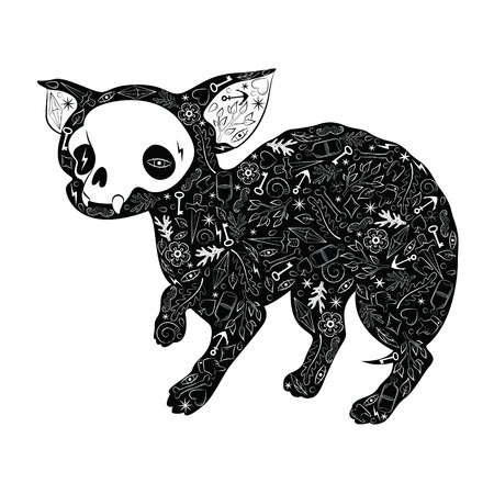 Greeting card with chihuahua, with tattoo patterns. Black chihuahua. Vector illustration Vector