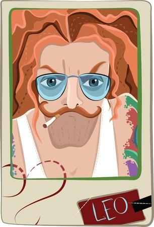 Vector stylized portrait of a man. Leo man. Vector illustration Vector