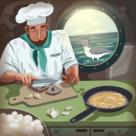 Cook prepares fish in the galley. Cook. Vector illustration