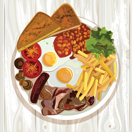 british food: Traditional English Breakfast. English Breakfast. Vector illustration