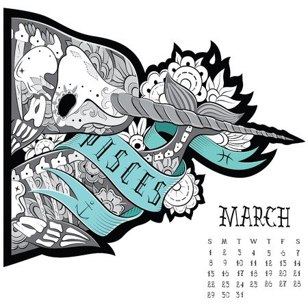 Unicorn fish: Page astrological calendar. Pisces tattoo. Vector illustration Illustration