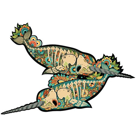 Two stylized skeleton narwhal. Narwhals. Vector illustration