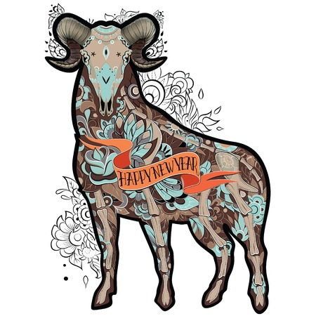 brown goat: New Year of the Goat, Isolated on white background, floral tattoo ornamental pattern. Brown Goat. Vector illustration