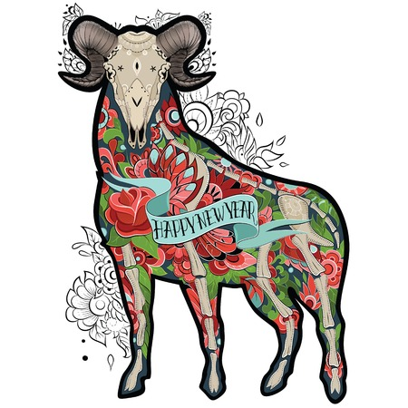 New Year of the Goat, Isolated on white background, floral tattoo ornamental pattern. Colorful Goat. Vector illustration