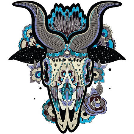 New Year of the Goat, Isolated on white background, floral tattoo ornamental pattern. Cool Goat Skull. Vector illustration Illustration