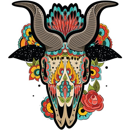 New Year of the Goat, Isolated on white background, floral tattoo ornamental pattern. Colorful Goat Skull. Vector illustration Stock Illustratie