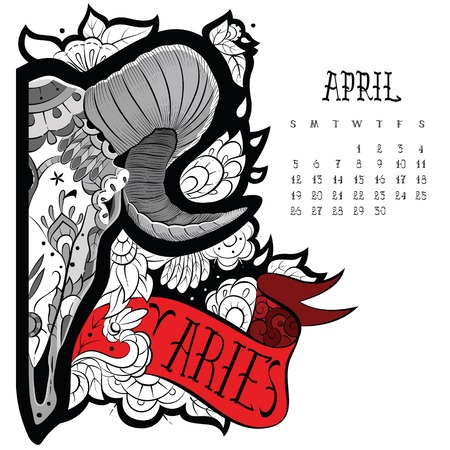taxidermy: Page astrological calendar. Aries tattoo. Vector illustration Illustration