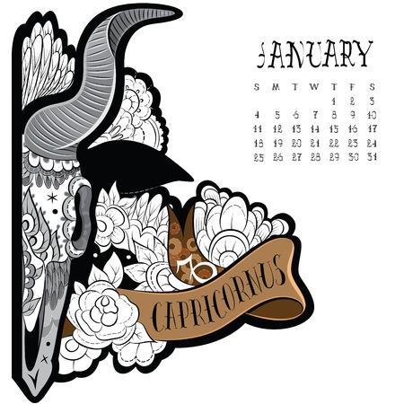 capricornus: Page astrological calendar. Capricornus tattoo. Vector illustration Illustration