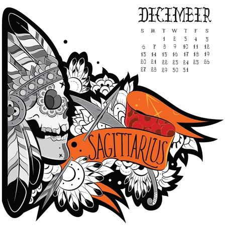 sagitario: Página calendario astrológico. Tatuaje de Sagitario. Ilustración vectorial