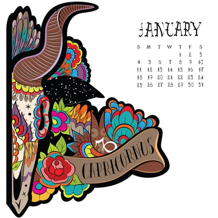 Page astrological calendar. Capricorn illustration