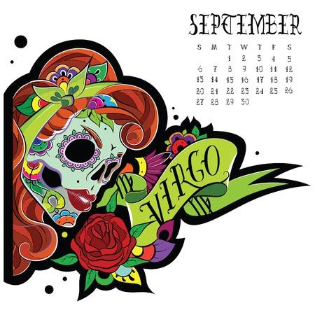 sugar skull: Page astrological calendar. Virgo illustration