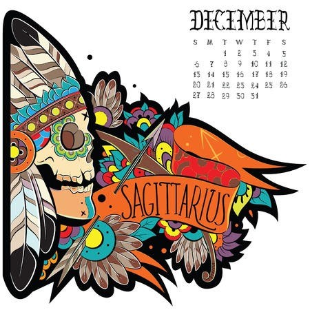 plumage: Page astrological calendar. Sagittarius illustration