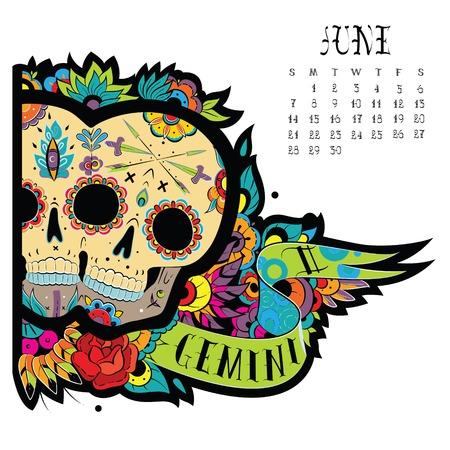 Page astrological calendar. Gemini illustration