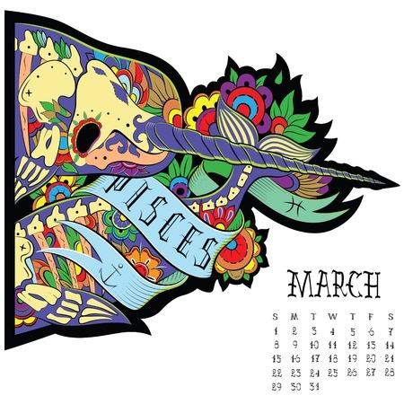 Page astrological calendar. Pisces illustration Vector
