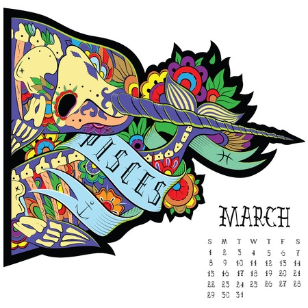 pisces: Page astrological calendar. Pisces illustration Illustration