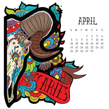 taxidermy: Page astrological calendar. Aries color. Vector illustration Illustration