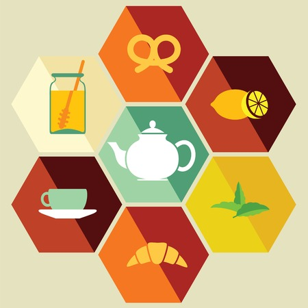 steam of a leaf: Flat Isolated Tea icons. Tea icons. Vector illustration