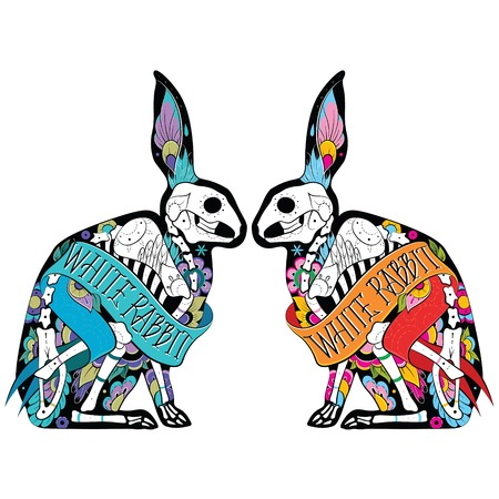 sugar skull: Greeting card with rabbits, skeletons with floral patterns. Colorfull rabbits. Vector illustration