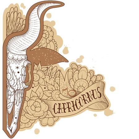 capricornus: Page astrological calendar. Engraving capricornus. Vector illustration