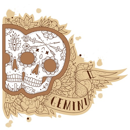 gemini zodiac: Page astrological calendar. Engraving gemini. Vector illustration Illustration