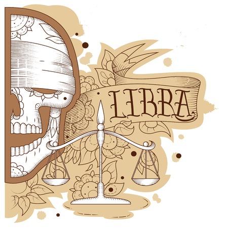 libra: Page astrological calendar. Engraving libra. Vector illustration Illustration