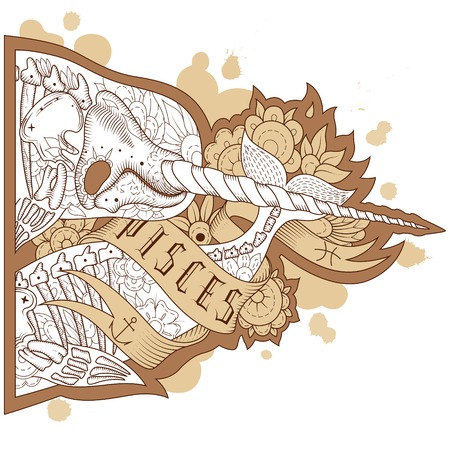 Unicorn fish: Page astrological calendar. Engraving pisces. Vector illustration Illustration