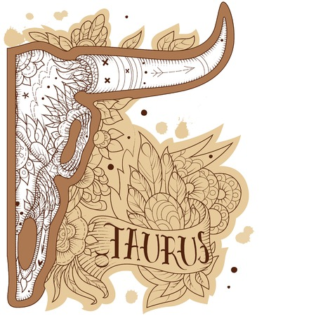 Page astrological calendar. Engraving taurus. Vector illustration