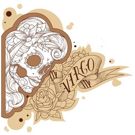 Page astrological calendar. Engraving virgo. Vector illustration