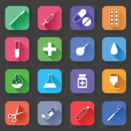category: Set of Universal Standard Flat Isolated medical Icons. Medical Icons. Vector illustration Illustration