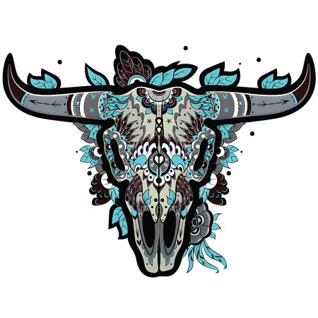 taxidermy: Buffalo Sugar Mexican Skull. Buffalo Skull cool. Vector illustration