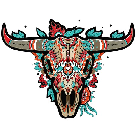 taxidermy: Buffalo Sugar Mexican Skull. Buffalo Skull. Vector illustration