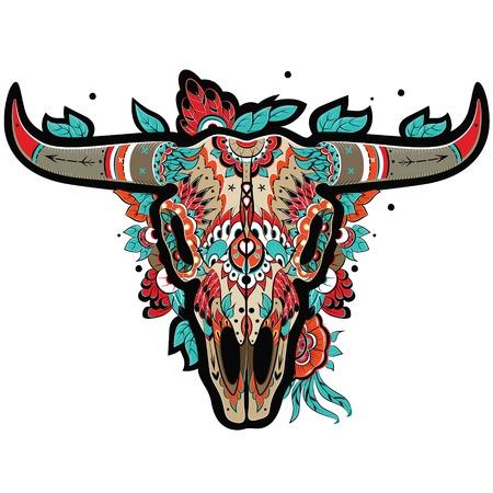 Buffalo Zucker mexikanische Schädel. Büffel-Schädel. Vektor-Illustration Illustration