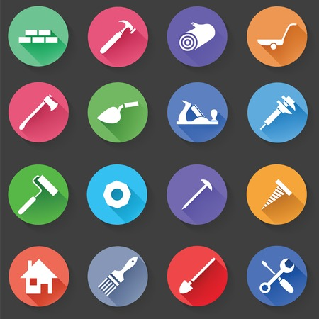 construction vehicle: Set of Universal Standard Flat Isolated construction Icons. Construction Icons. Vector illustration