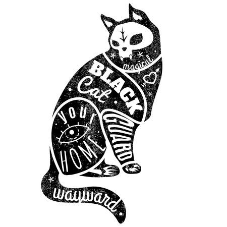 dessin noir et blanc: Carte de voeux avec un chat. Chat noir. Vector illustration