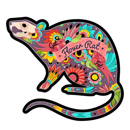 rata: Tarjeta de felicitación con la rata con motivos florales. Flor de la rata. Vectores