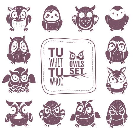 various: Vector cartoon isolated Owls Set. Vector Illustration