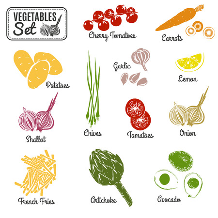 chives: Vegetables stencil set. Vegetables set. Vector illustration